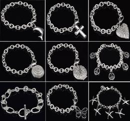 Cross Silver Plate Bracelet NZ - 925 Sterling Silver Animal Bracelet Jewelry Fashion 925 Silver Butterfly Dolphin Cross Pendant 925 Silver Bracelets Top Quality Jewelry