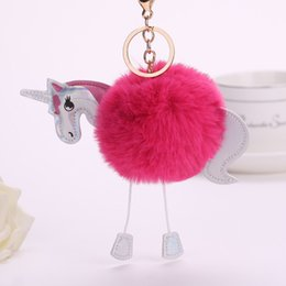Artificial Chains Wholesalers Australia - Unicorn Pony Keychain Lovely Fluffy Pendant Artificial Rabbit Fur Key Chain Bag Car Key Ring Hang Bag Accessories FREE SHIPPING