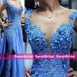 $enCountryForm.capitalKeyWord UK - Newest Design Blue Formal Evening Dresses Chiffon Sheer Applique Pearls Full Length 2019 Cheap Women Party Gowns Prom Wear Fairy Tale Style