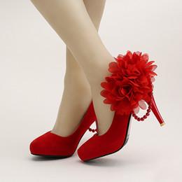 $enCountryForm.capitalKeyWord NZ - Red Flock Super High Heel Bride Shoes Round Toe Thin Heels Platform Formal Dress Shoes Lace Flower Women Shoes Wedding Prom Pump