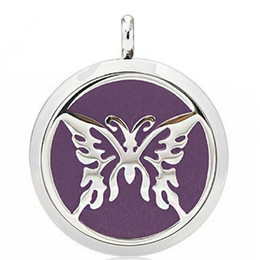 $enCountryForm.capitalKeyWord NZ - Aromatherapy Essential Oil Diffuser Necklace Hollow Butterfly 316L Stainless Steel Locket Pendant with Ajustable Chain 6 Refill Pads