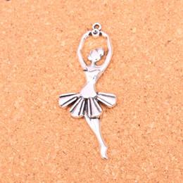 Dancer Bracelets Australia - 30pcs Antique Silver Plated ballet dancer Charms Pendants for European Bracelet Jewelry Making DIY Handmade 61*24mm