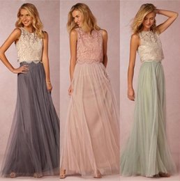 Barato Vestidos Vintage Superiores-2017 Vintage Two Pieces Crop Top Vestidos de dama de honra Tulle Borrão de borracha acentuada Mint Grey Maid of Honour Gowns Lace Party Dresses BA2276