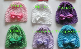 "selling hair bows 2019 - 100pcs gairl waffle crochet hats + 3"" hair bows clips baby soft beanie toddler stretch caps feshion hot sell MZ9114"
