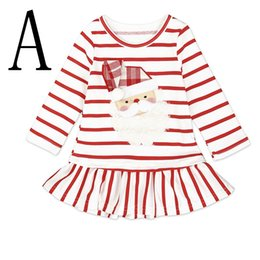 Barato Trajes De Natal Santa Vestidos-XMAS Baby Girls Christmas Deer Party Cosplay Costume Princesa Santa Claus Deer Elk Dress Stripe Saia de manga comprida 1-6years livre navio