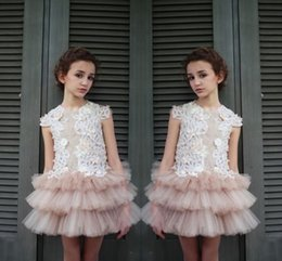 girl mini skirt sleeveless top Australia - New Design Lace Top Tulle Tiered Skirt Flower Girl Dresses For Wedding 2017 Jewel Sleeveless Mini Party Dresses For Children Pageant Gowns