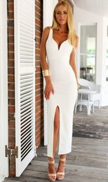 Hot Sexy White Dresses Australia - Summer New Arrival 2016 Women Fashion Party Sexy Long Dress White Split Sleeveless V-neck Pencil Dresss Hot