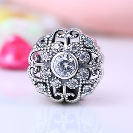 Wholesale 100 Real Sterling Silver Not Plated Luxury Bloom CZ Heart Flower Charms European Charms Beads Fit Pandora Bracelet DIY Jewelry