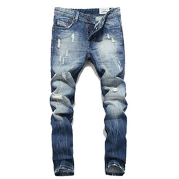 96d05b2626 Wholesale-HOT Fashion Jeans Men Ripped Distressed Destroyed Hip Hop Rock Mens  Pants Casual Pantalones vaqueros Hombre Marce MYA0382