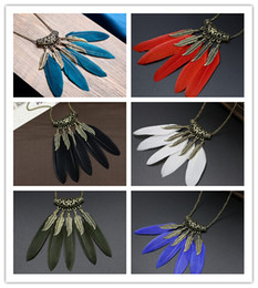 copper leaf chain for jewelry NZ - Bohemian Feather Pendant Necklace For Womens Europe Vintage Golden Leaves Sweater Chain Necklaces Fashion BOHO Ethnic Indian Jewelry
