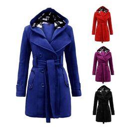 China New Winter Women Warm Double-breasted Hooded Belt Long Slim Jacket Coat Outwear Wool Coat Belted Button Pockets Outwear Jacket Overcoat suppliers