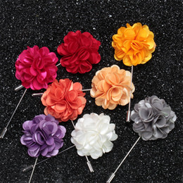 Flower Brooches For Weddings Canada - New fashion men brooch flower lapel pin 4cm suit boutonniere fabric yarn pin 20 color button flower broochers for wedding Jewelry