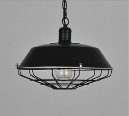 2016 New Dia36 46cm American Industrial Loft Vintage Pendant Lights For Dining Room Iron Black Rust Painted E27 Edison Bulb Home Lamp Art