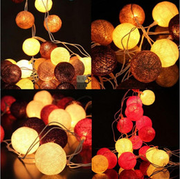 christmas tables NZ - LED string light 3m cotton ball fariy string light New type 20pcs cotton ball white coffee for party patio Christmas table tree decro