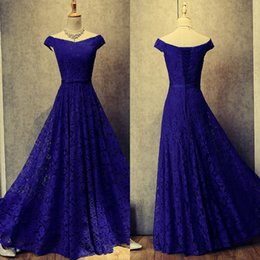 Robes De Bal Pas Chères Corsets Pas Cher-2017 New Off the Shoulder Robes de bal en dentelle en soie Robes de soirée bleues Cheap Custom Made Corset Back Floor Length Prom Party Dressess