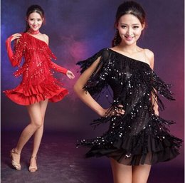 8037d552c82 2018 Latin Dance Dress Black Blue Red Dress For Dancing Tassel Sequins Latin  Dance Dresses For Sale Cha Cha Rumba Samba Club Dress