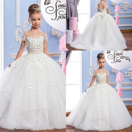 China 2019 Lace Puffy Tulle Ball Gown Flower Girl Dresses Appliques Girls Pageant Gowns Vintage Communion Dress Big Bow Back Custom Made supplier blue white vintage wedding dresses suppliers