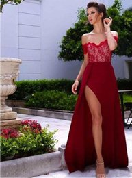 Barato Comprar Vestido Azul Royal-Compre 2017 Sexy Strapless Off Shoulder Short Sleeves Sweep Train Wine Prom Dress com Lace Top Leg Slit