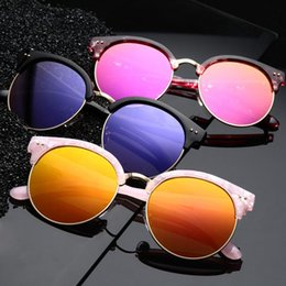 round face sunglasses 2019 - 586 Fashion V brand color film polarized glasses large frame sunglasses men and women round face reflective sunglasses w