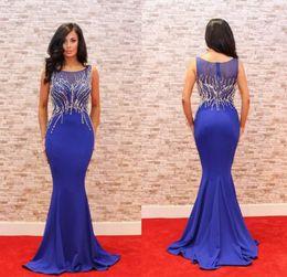 Discount long elegant dinner dresses - elegant navy blue long evening dress 2018 o neck beaded slim dinner dress women pageant gown for formal prom party