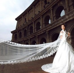 crystal cathedral veils 2019 - Best Selling Luxury Real Image Wedding Veils Long Veils Lace Appliques Crystals One Layer Cathedral Length Cheap Bridal