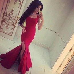 Robe Rouge À Col Carré Pas Cher-2017 New Mermaid Split Robes de soirée Cuir carré sans manches High Slit Satin Long Red Elegant Evening Party Michael Costello Robes pas cher