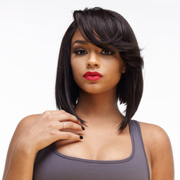 $enCountryForm.capitalKeyWord Canada - brand new Short Cut Bob Full Lace Human Hair Wig With Bangs Short Straight Lace Front Wig Free Shipping