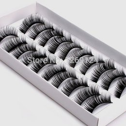 mink eyelashes box UK - 10 Box Women Fashion Handmade Thick Long False Eyelashes Mink Eyelash Natural Eyes Lashes Makeup With Retail Pack Free Shipping