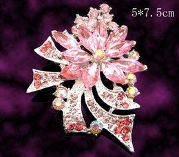 $enCountryForm.capitalKeyWord NZ - Wholesale hot sell women fashion Silver plated rhinestone flowers Brooches costume jewelry Free shipping 12pcs lot Mixed colors BH744