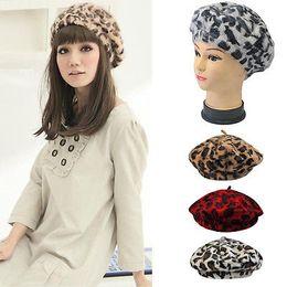 angora hats 2019 - Ladies Rabbit Fur Angora Leopard Beret Hat Women Beanie Hat Cap Autumn and Winter Hats Female 100 PCS YYA459 cheap angor