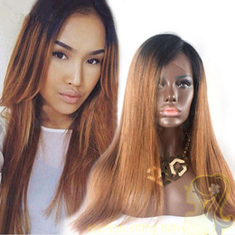 $enCountryForm.capitalKeyWord NZ - Two Tone 1B 30 Peruvian Glueless Full Lace Human Hair Wigs Silky Straight Ombre Lace Front Wigs Bleached Knots 150% Density