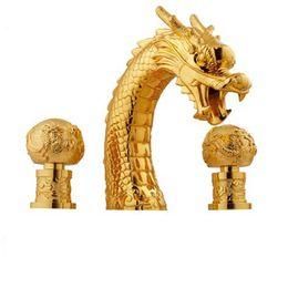 Dragon taps online shopping - TI Gold PVD clour widespread bathroom dragon tub shower faucet mixer tap deck mounted