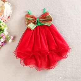 Baby Sling Red Pas Cher-Filles Sling Baby Dress Summer Lace Sun Robes Robes rouges de Noël Fleur Tutu Princesse enfants Robes jarretelle jupe de plage robe de bal