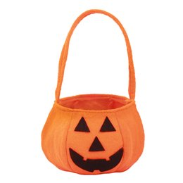 halloween smile pumpkin bag props decoration kids biscuit candy handheld bags pouch children fancy gift festival supplies discount halloween supplies props - Discount Halloween Props