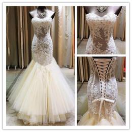 $enCountryForm.capitalKeyWord NZ - Sleeveless Wedding Dresses Sweetheart Lace Appliques Customized Wedding Dress Floor Length Lace Up Back Mermaid Bridal Gowns 2017