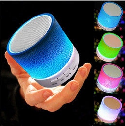 wholesale musical speaker NZ - New Arrival! 5PCS LED Mini Wireless Bluetooth Speaker A9 TF USB FM Portable Musical Subwoofer Loudspeakers For phone PC with Mic