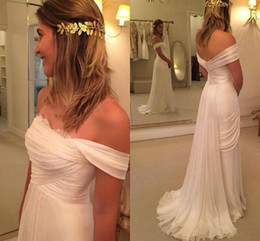 Summer Beach Wedding Dresses NZ - Simple Off Shoulder Beach Wedding Dresses 2017 Summer Chiffon Ruffles Lace High Split Bridal Gowns Sweep Train Cheap Wedding Dresses