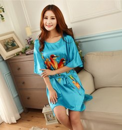 Discount chinese silk gown - Wholesale-Silk night gown Chinese drawing clothes silk sleeping wear sexy house wear satin robe
