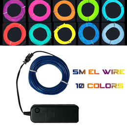 Costumes De Danse Néon Pas Cher-5M Flex flexible EL Wire Rope Tube Flexible Neon Light 10 couleurs Car Dance Party Costume + Controller Christmas Holiday Decor Light