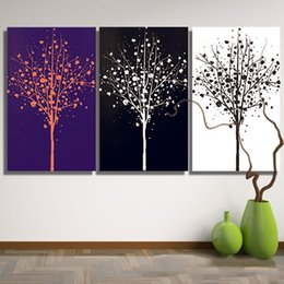 30*40cm Modern Wall Art Paintings Pure Hand Painted Black And White Tree  Patterns Unframed Paints For Living Room Dining Room Wall Decor