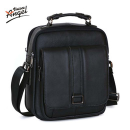 Wholesale- Angel Voices Business Men Genuine Leather Bag Natural Cowskin Men  Messenger Bags Vintage Men s Cowhide Shoulder Crossbody Bag b23f2307d1