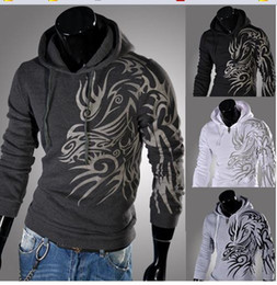 dragon pattern long NZ - Dragon Hoodie Men Hooded Print Pattern Free Shipping Long Sleeve Pullover New Arrival Fashion Casual Brief Style Mens Hoodies