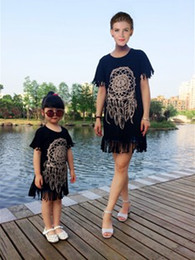 $enCountryForm.capitalKeyWord Canada - Summer Mother Daughter Dresses Short Sleeve Matching Clothes Cotton Tassel Mom And Baby Girls Family Outfit Look Kids Clothing