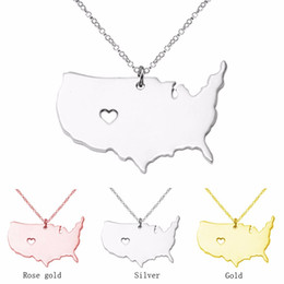wholesale jewelry south america UK - Large America Necklace Map Pendant Necklaces USA State Pendants Map Necklace With A Heart Handmade Jewelry