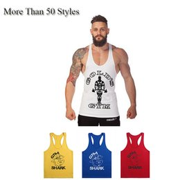 Vestes De Retour Pas Cher-Coton Stringer Bodybuilding Equipment Fitness Gym Chemise Tank Top Solid Singlet Y Retour Sport Vêtement Gym Vest