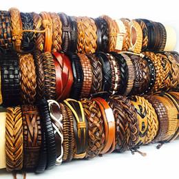 Wholesale wholesale bulk lots 50pcs pack mix black brown men's women's retro handmade real leather surfer cuff bracelets