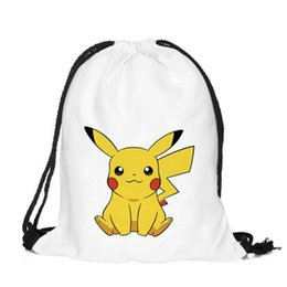 Barato Presentes Do Saco De Escola Do Aniversário-39 * 30cm Poke go Pikachu Kids Mochilas Cartoon Drawstring Bag Cartoon School Bags Meninas Party Gift Bag Aniversário 2017