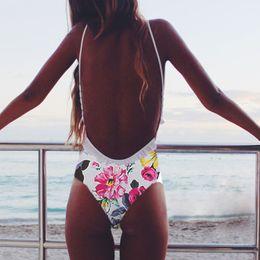 Brazilian One Piece Suit Canada - 2016 Womens Floral Print Sling Backless High Waist Bathing Suit Brazilian Monokini Swimsuits Swimwear One Piece Bodysuit XL