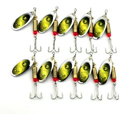 Discount fishing spinners - 10Pcs New Metal Spoon Spinnerbait Fishing Lures With Treble Hooks Fishing Wobblers Sequins Baits 7CM-8.8G