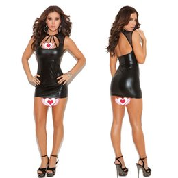 Robes De Cocktail En Cuir Sexy Pas Cher-Femmes Sexy Noir Look PVC Faux Cuir Bandage Moulante Partie Cocktail Dress 305